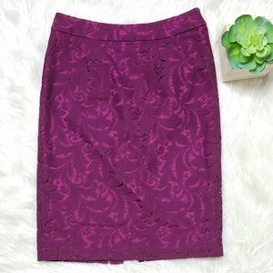 Cabi Frolic Plumberry Lace Pencil Skirt Style 922